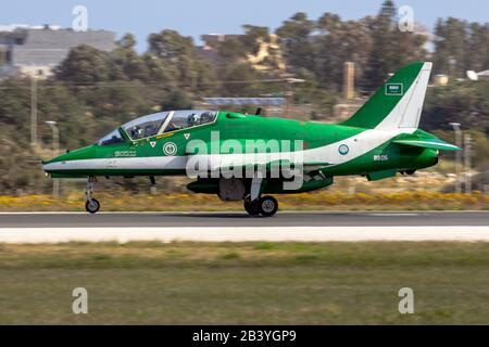 Saudi Arabian Air Force British Aerospace Hawks display team arriving in Malta for 3 hours technical stop. - Stock Photo