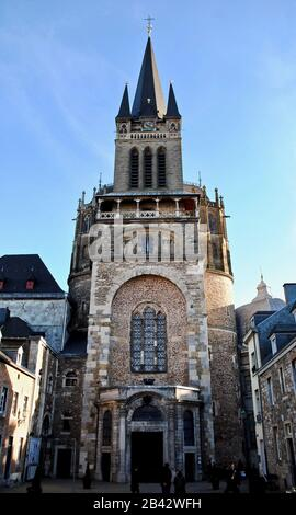 Aachen Cathedral (Aachener Dom) Germany. The westwork (western facade) of the cathedral is of Carolingian origin. Romanesque style with Neo Gothic. - Stock Photo