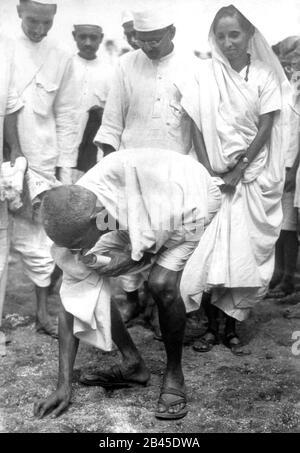 mahatma gandhi breaking the salt law in dandi at gujarat, India, Asia