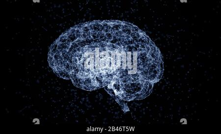 Artificial intelligence concept: blue lines, dots and polygons forming a human brain. Science and technology background. Depth of field settings. 3D r