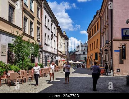 Europe, Poland, Lublin province, Lublin city, Bramowa street in the old town - Stock Photo