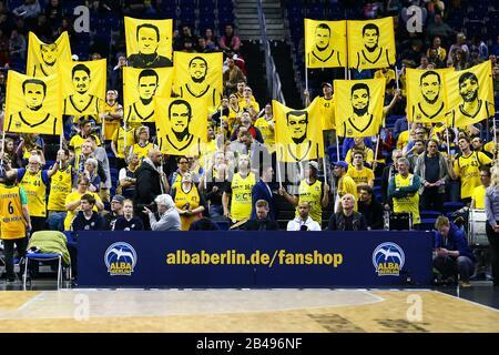 Berlin, Germany, March 04, 2020:Alba Berlin supporters before the EuroLeague basketball match between Alba Berlin and FC Barcelona