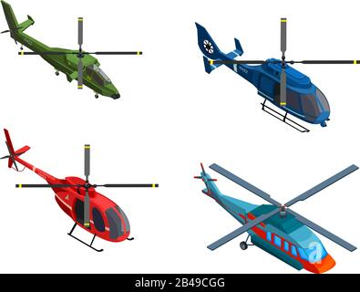 Illustration of helicopters, with white background vector