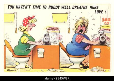 Bamforth comic postcard of two women machinists on toilets, over-worked, in an industrial clothing machining factory, artist Philip W. Taylor, circa 1950's. - Stock Photo