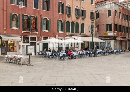 Venice, February 25th - March 3rd. 2020: Bars and restaurants  are suffering from a drastic drop in business as the Coronavirus epidemic scares tourist from visiting Vence and cancelling their trip. Restaurants and bars are laying off members of staff as trade has dropped off dramatically. - Stock Photo