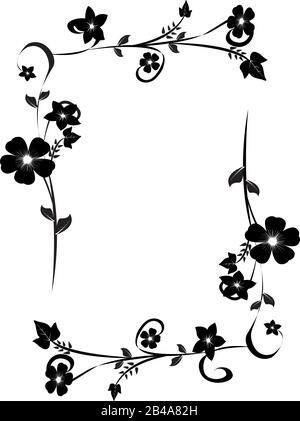 Flowers Decorative Frame Isolated On White Background Floral Monochrome Ornament Design Element With Space For Your Text Black And White Vector Illustration Stock Vector Image Art Alamy,Easy Black And White Simple Flower Design