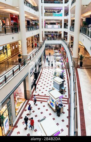Interior of the Suria llcc large shopping mall at Petronas Towers, Kuala Lumpur, Malaysia, Asia