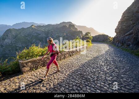 Cape Verde, Santo Antao island, the vertiginous Rope Road (Estrada da Corda), paved road built in the 60's crossing the island from north to south - Stock Photo