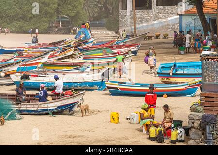 Cape Verde, Santiago island, Tarrafal, fishing boats on the beach - Stock Photo