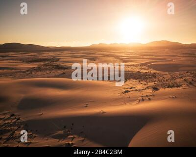 Beautiful desert and dunes view from above with sun and shadows on the sand - amazing nature outdoors and concept of beauty of the world and wild places to visit and enjoy -