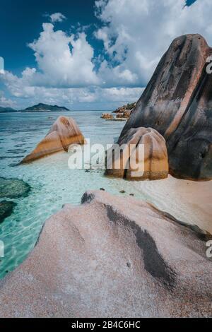 The world famous paradise tropical beach Anse Source D'Argent on La Digue, uniquely granite rock formations.