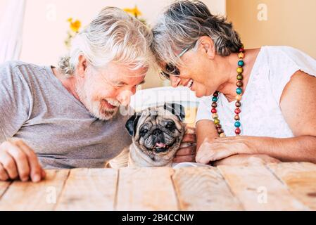 People and dog concept with couple of happy couple of senior mature man and woman smiling and having fun with their little puppy pug  - concept of animal therapy and happiness - Stock Photo