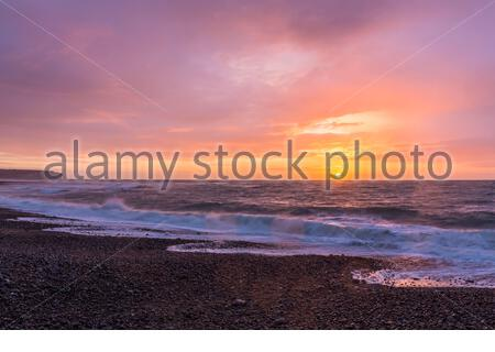 Sunset on the English Channel, Fecamp, Seine-Maritime department, Haute Normandie, France - Stock Photo
