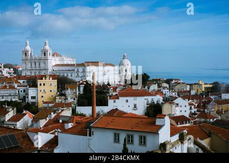 Roofs in the oldest district Alfama in Lisbon, Lisboa, Lissabon, Portugal, Europe - Stock Photo