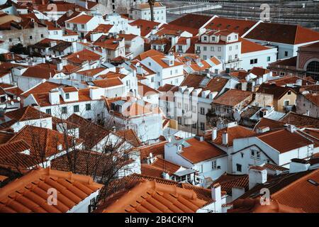 Srop of Rooftops of the oldest district Alfama in Lisbon. . Lisbon, Lisboa, Lissabon, Portugal, Europe - Stock Photo