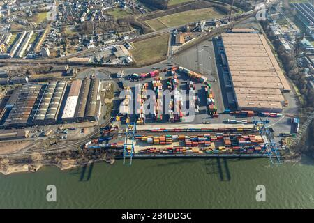Aerial view, logistics location Duisport, Logport II, Rhine-Ruhr terminal, Angerhausen, Duisburg, Ruhr area, North Rhine-Westphalia, Germany, - Stock Photo