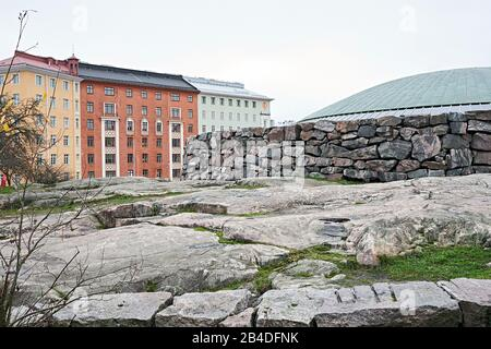 Exterior shot of the Temppeliaukio church in Helsinki, Finland - Stock Photo