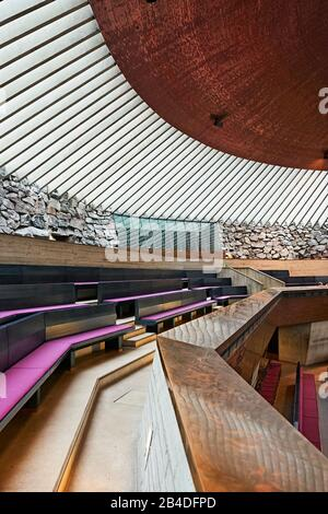 Interior shot of the Temppeliaukio church in Helsinki, Finland - Stock Photo