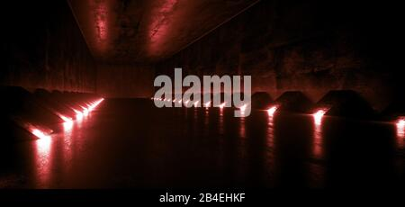 Dark Empty Sci Fi Futuristic Modern Alien Ship Corridor Tunnel Grunge Concrete Material Red Led Lights With Reflections Background Concept 3D Renderin