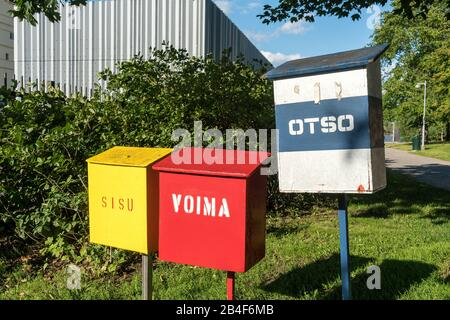 Helsinki, harbor, Katajanokka Icebreaker Base, mailboxes for the icebreakers Sisu, Voima and Otso - Stock Photo
