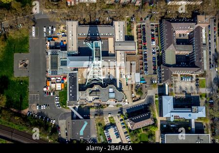 Aerial view German Mining Museum Bochum in Bochum with Doppelbock winding tower in the Ruhr area in the state of North Rhine-Westphalia, Germany - Stock Photo