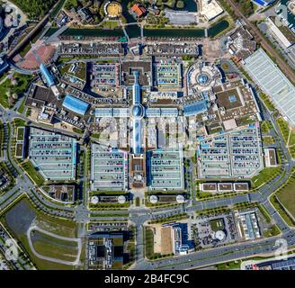 Aerial view of ECE shopping mall CENTRO in Oberhausen's new center in Oberhausen in the Ruhr area in the state of North Rhine-Westphalia, Germany. - Stock Photo