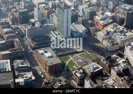 aerial view of Piccadilly Gardens with City Tower, Manchester city centre - Stock Photo