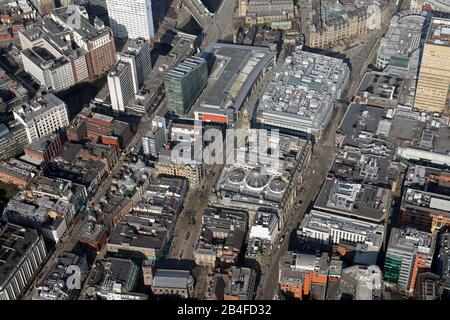 aerial view of the north eastern end of the area between Deansgate & Cross Street, Manchester - Stock Photo