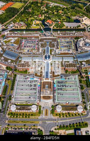 Aerial view of the leisure and shopping centre Neue Mitte Oberhausen with the shopping centre CentrO and the industrial and commercial area Neue Mitte in Oberhausen in the Ruhr area in the federal state of North Rhine-Westphalia, Germany. - Stock Photo