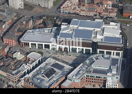 aerial view of Warrington town centre including the newly built Cockhedge Shopping Park, Cheshire, UK - Stock Photo