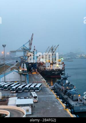 Israel, Haifa, harbor - Stock Photo