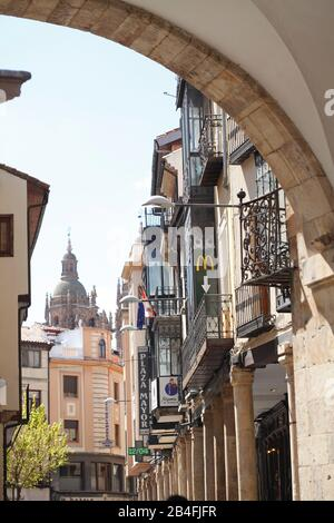 Rua Mayor with archway to Plaza Mayor Square, Salamanca, Castile and Leon, Spain, Europe