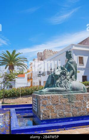 Plaza Santa Maria, Tarifa, Costa de la Luz, Cadiz Province, Andalucia, Spain, Europe - Stock Photo