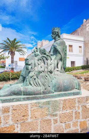 Sancho IV the Brave Statue, Tarifa, Costa de la Luz, Cadiz Province, Andalucia, Spain, Europe - Stock Photo
