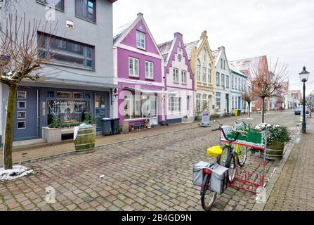 Gable Houses, Old Town, Friedrichstadt, North Sea, Winter, Schleswig-Holstein, Germany, Europe - Stock Photo