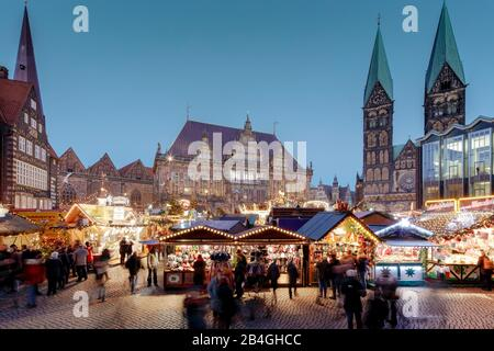Christmas market, market, town hall, cathedral, blue hour, Hanseatic city, Bremen, Germany, Europe - Stock Photo