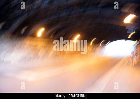 Tunnel, Motion, Blur, Lighting, Eisenach, Thuringia, Germany, Europe, - Stock Photo