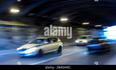 Car, Tunnel, Motion, Blur, Lighting, Eisenach, Thuringia, Germany, Europe, - Stock Photo