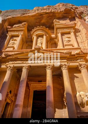Jordan, Al-Khazneh, the treasure house in the rock city Petra - Stock Photo