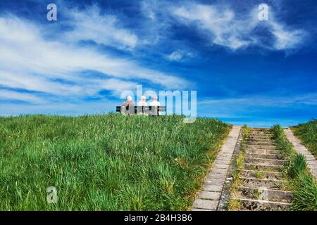 Landscape, blue sky, sunny, spring clouds, stairs to the dike's crown, three people on a bench, Germany, Hamburg, Lower Elbe, Elbe bank - Stock Photo