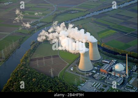 , Nuclear Power Plant in Grohnde at river Weser, 11.05.2006, aerial view, Germany, Lower Saxony, Grohnde - Stock Photo