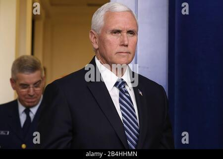 Washington, USA. 07th Mar, 2020. Vice President Mike Pence speaks during a press briefing with members of the Coronavirus Task Force in the James Brady press briefing room of the White House on March 6, 2020 in Washington, DC. (Photo by Oliver Contreras/SIPA USA) Credit: Sipa USA/Alamy Live News - Stock Photo
