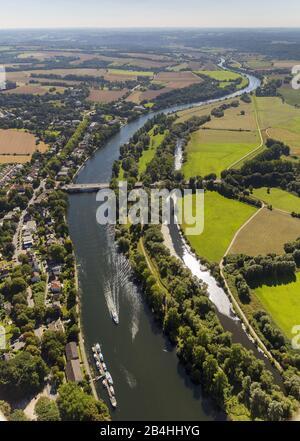 , river Ruhr in Muelheim with peninsula, 05.09.2013, aerial view, Germany, North Rhine-Westphalia, Ruhr Area, Muelheim/Ruhr