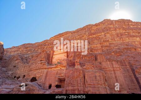 Jordan, facade road in the rock city Petra - Stock Photo