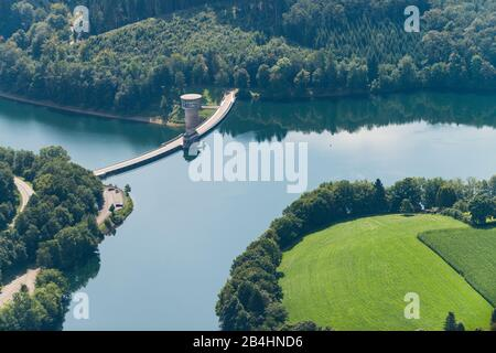 Aerial view of Listertalsperre, dam and reservoir - Stock Photo