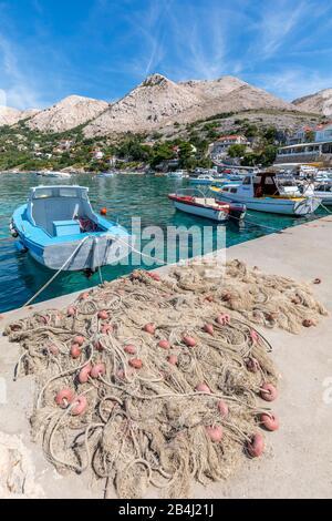 Stara Baska, marina view, island of Krk, Kvarner Bay, Primorje-Gorski Kotar County, Croatia - Stock Photo