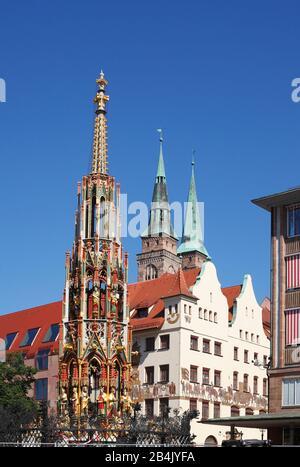 Schöner Brunnen (Beautiful fountain), Old Town, Nuremberg, Bavaria, Germany, Europe - Stock Photo