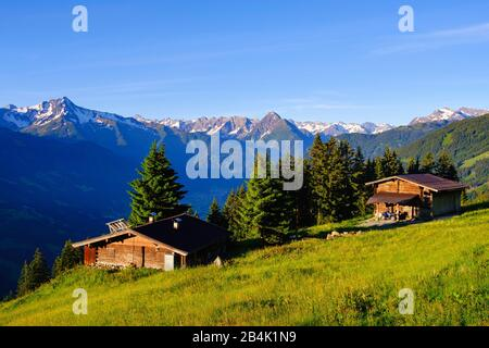 Alpine huts on the Zillertal High Road in Zellberg, Ahornspitze and Dristner in Zillertal Alps, Zillertal, Tyrol, Austria - Stock Photo