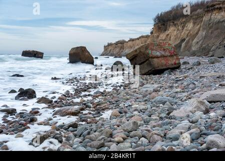 Germany, Mecklenburg-West Pomerania, Wustrow, bunker on the beach at Wustrow, breakwater. - Stock Photo