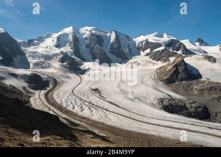 Switzerland, Graubünden, Engadin, Upper Engadine, view from Diavolezza to Piz Palü, Bellavista, Crast'Agüzza and Persgletscher - Stock Photo